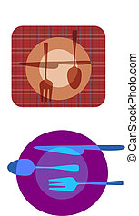 set illustrations of plate with fork, knife ,spoon - set...
