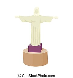 Statue of Christ Redeemer icon, cartoon style - Statue of...