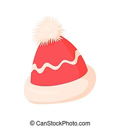 Winter hat icon, cartoon style - Winter hat icon in cartoon...