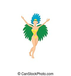 Brazilian girl in carnival icon, cartoon style