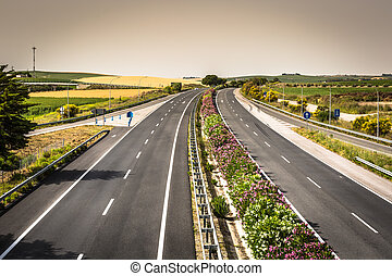 Aerial view of lanes highway in Spain