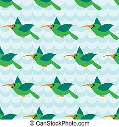 Seamless pattern with colibri on striped wave blue...