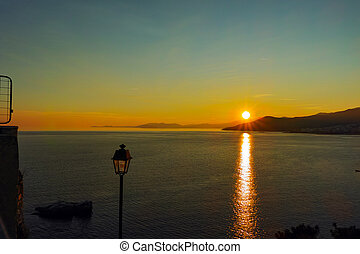Amazing sunset in Kavala, East Macedonia and Thrace, Greece