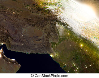 Afghanistan and Pakistan from space during sunrise -...