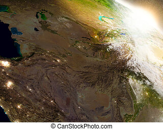 Central Asia from space during sunrise - Central Asia region...