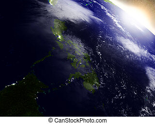 Philippines from space during sunrise - Philippines region...