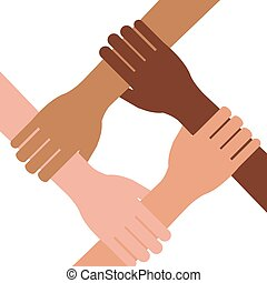 Multi ethnic hands teamwork unity isolated vector...