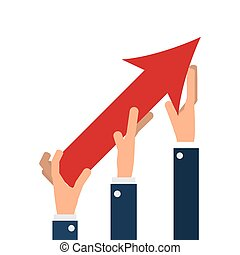 business people hands with arrow up growth isolated vector...