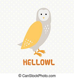 Greeting card with cute cartoon owl.
