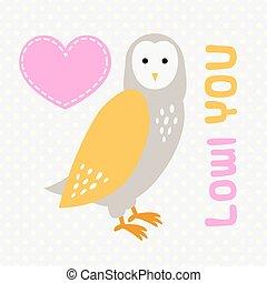 Card with cute cartoon owl and heart.