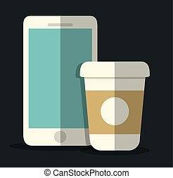smartphone and mug icon Office Instrument design Vector...