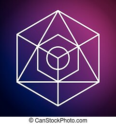 Sacred geometry icon White Shape design Vector graphic -...