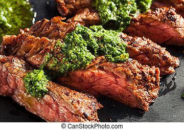 Homemade Cooked Skirt Steak with Chimichurri Sauce and...