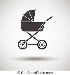 Pram icon on gray background, round shadow Vector...