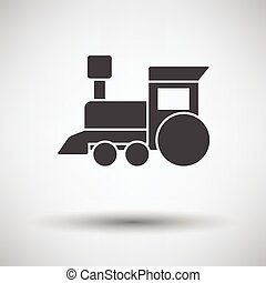 Train toy icon on gray background, round shadow. Vector...