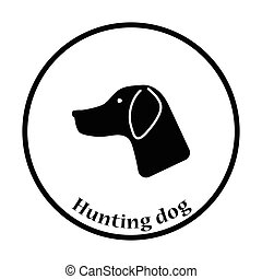 Hunting dog had icon. Thin circle design. Vector...