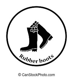 Hunters rubber boots icon Thin circle design Vector...
