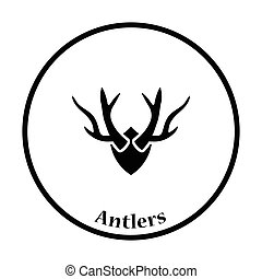 Deers antlers icon Thin circle design Vector illustration...