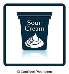 Sour cream icon Shadow reflection design Vector illustration...