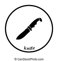 Hunting knife icon Thin circle design Vector illustration