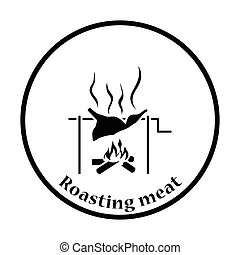 Roasting meat on fire icon. Thin circle design. Vector...