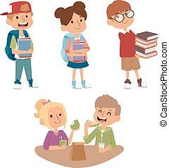 école, gosse, Primaire, Education, caractère, vecteur