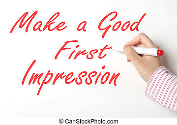 Make a good first impression concept - Business woman...