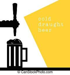 beer tap with mug drink cold illustration