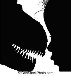 child with dinosaur face adorable silhouette illustration in...