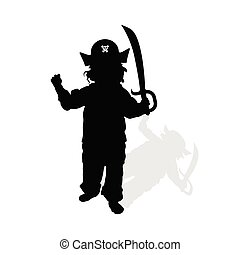 child with pirate hat and sword silhouette illustration