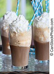Three Root Beer Floats - Root beer floats with whipped cream...