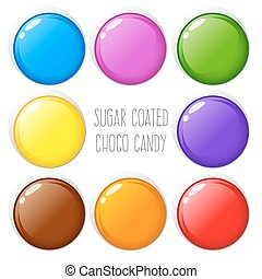 Colorful Sugar Coated Chocolate Candy - Vector stock of...