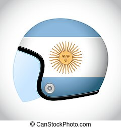 Retro Motorcycle Helmet With Flag of Argentina - Vector...