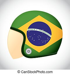 Retro Motorcycle Helmet With Flag of Brazil - Vector stock...
