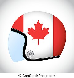 Retro Motorcycle Helmet With Flag of Canada - Vector stock...