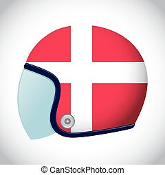 Retro Motorcycle Helmet With Flag of Denmark - Vector stock...