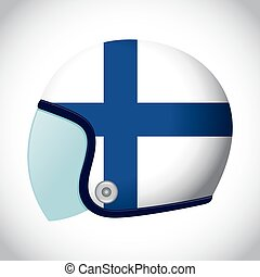 Retro Motorcycle Helmet With Flag of Finland - Vector stock...