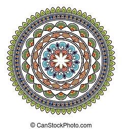 circular multicolored decorative line mandala icon