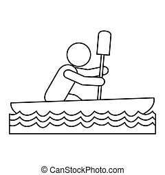 rowing person pictogram icon