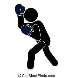boxing person pictogram icon