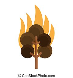tree on fire icon - simple flat design tree on fire icon...