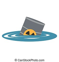 toxic waste contamination on water icon - flat design toxic...