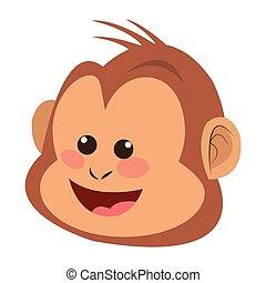 smiling monkey cartoon icon