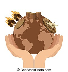 hands holding arid planet earth icon