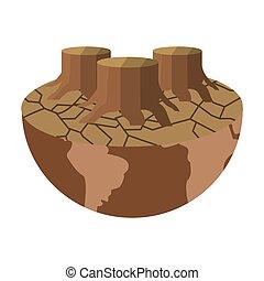 arid planet earth icon - flat design arid planet earth icon...