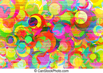 Abstract background with  circles and stars.