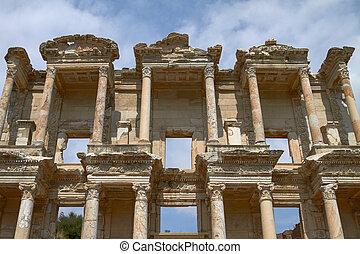 Facade of Ancient Celsus Library in Ephesus Turkey Ephesus...