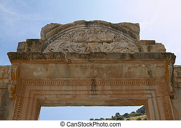 The Temple of Hadrian in Ancient City of Ephesus in Turkey...