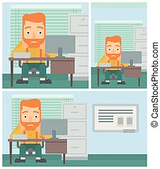 Tired man sitting in office vector illustration. - A tired...