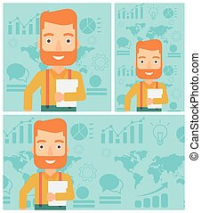 Happy successful businessman vector illustration. - Young...